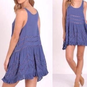 Free People Trapeze Slip Dress with Lace Panels